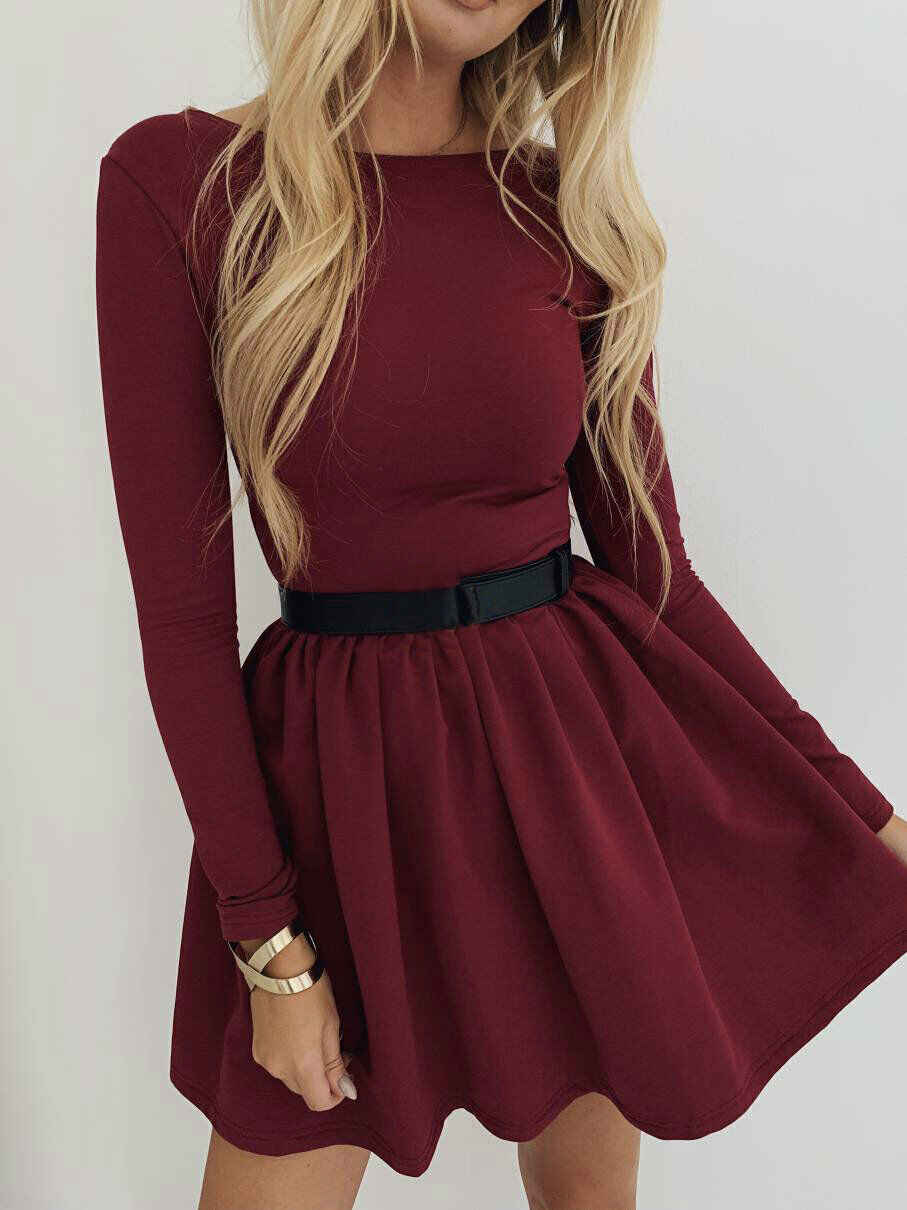 New Women Ladies Long Sleeve Swing Flared Top Party Cocktail Mini Dress