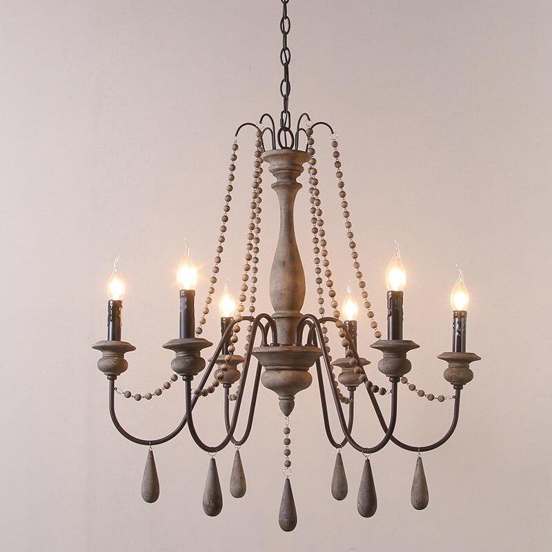Lustre en fer en Bois éclairage pour salon chambre rétro lustres Loft Lustre Bois Vintage décor à la maison luminaires