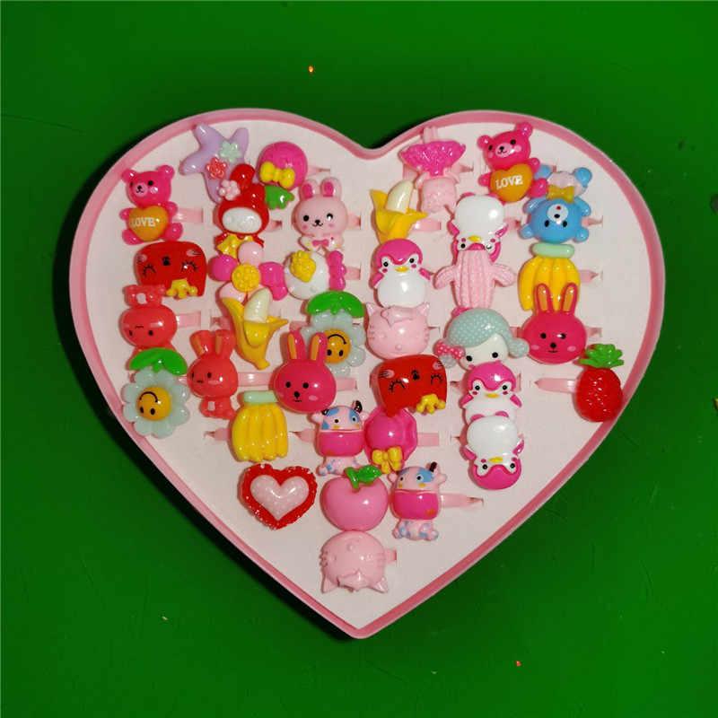 36pcs Bambini Dolce e Carino Fiori Regolabili Anelli Animali Per Bambini Anelli Del Fumetto Anelli di Cristallo Della Lega di Compleanno Per Bambini Ragazza Regalo Del Partito