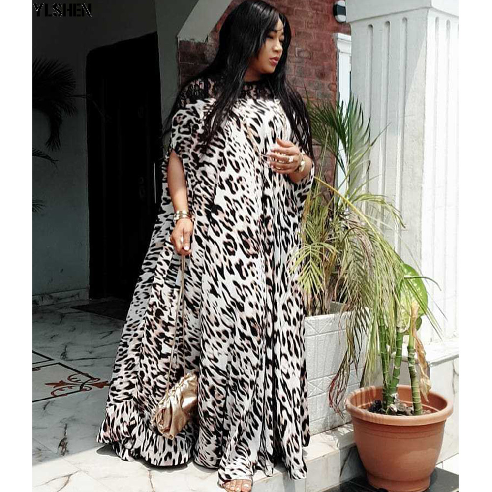 Length 150cm Africa Dress African Dresses For Women Dashiki Leopard Lace Traditional Boubou African Clothes Abaya Muslim Dress