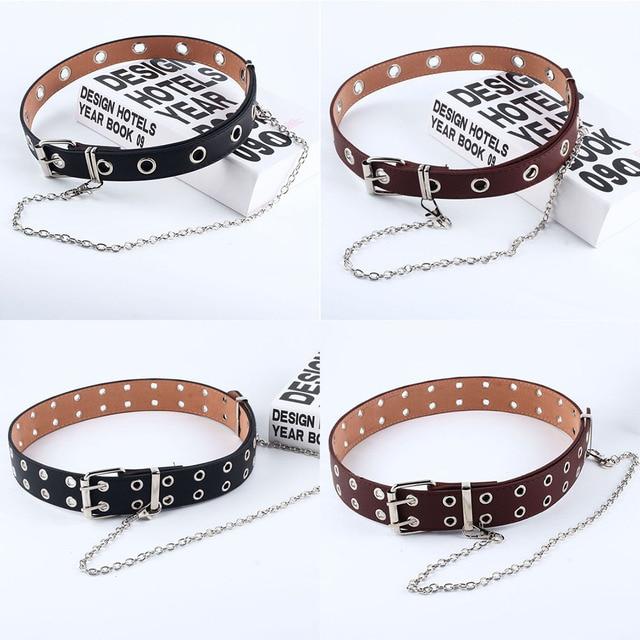Women Punk Chain Fashion Belt Adjustable Double/Single Row Hole Eyelet Waistband with Eyelet Chain Decorative Belts 2019 New 10