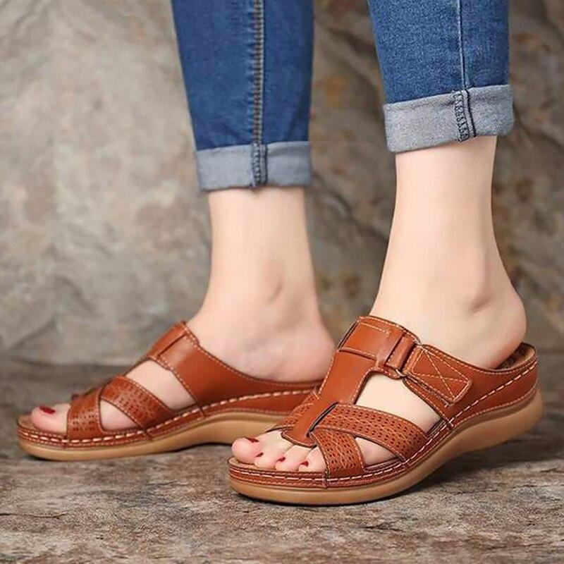 Women's Summer Sandals Wedges PU Leather Hook Loop Sewing Female Roman Sandal For Ladies Shoe Retro Sandalias Big Size 41-44