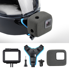 QIUNIU Motorcycle Helmet Front Chin Strap Mount + Windproof Foam + Frame Case + Tripod Adapter for GoPro Hero 7 6 5 Accessories