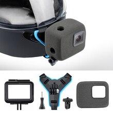 Qiuniu Motorhelm Voorste Kin Strap Mount + Winddicht Foam + Frame Case + Statief Adapter Voor Gopro Hero 7 6 5 Accessoires