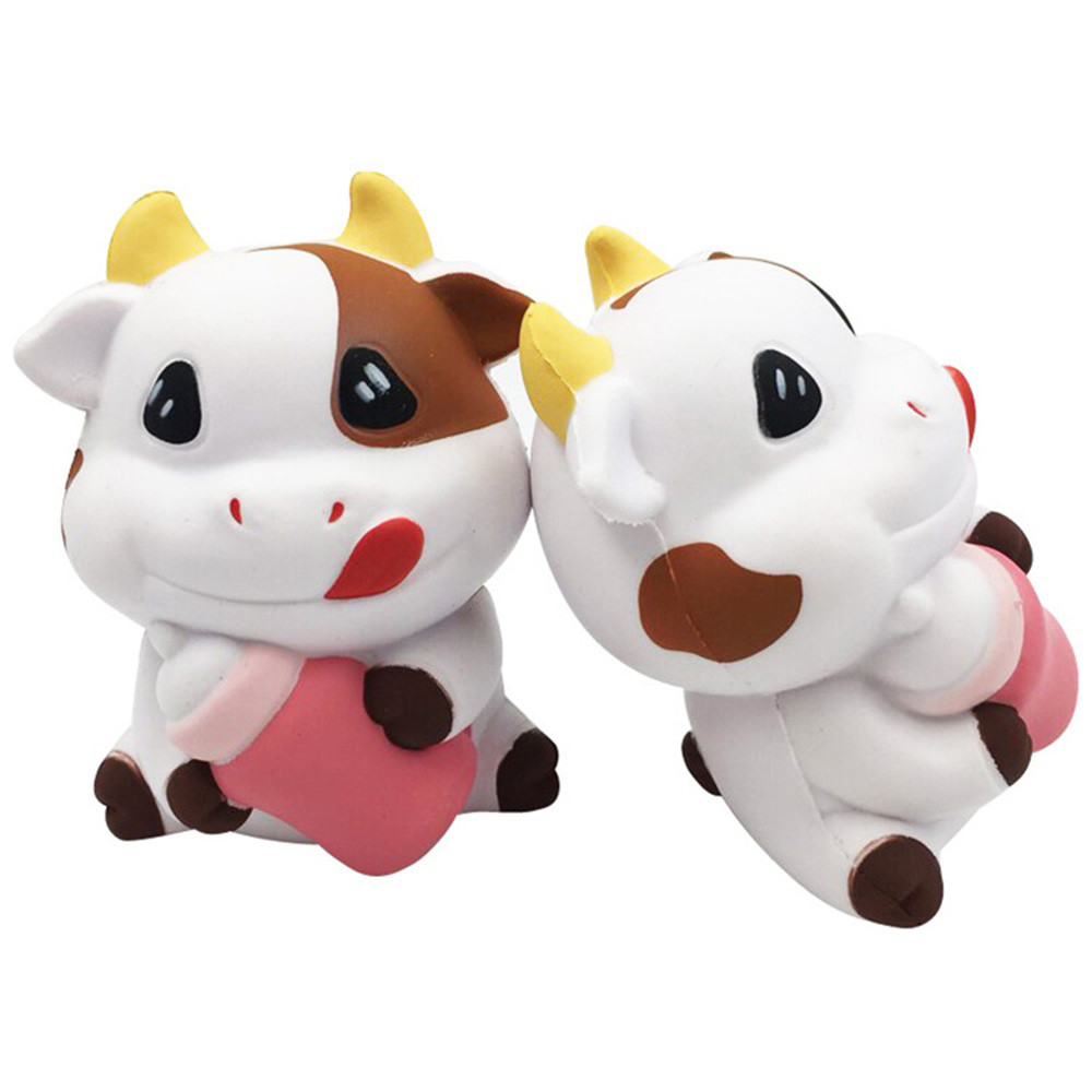 Adorable Cartoon Cow Charm Slow Rising Squeeze Pressure Stress Reliever Toys Children Fun Playing Game Toy Baby Boy Girl Toys