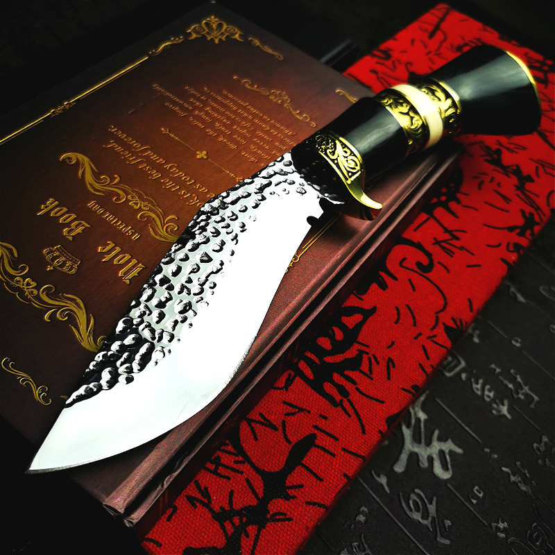 PEGASI  Vacuum forged sharp Nepali tactical knife with brass color wooden handle for outdoor hunting dogleg knife outdoor tool