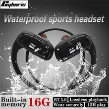 Cyboris auricular deportivo para correr, resistente al agua, 16GB, reproductor Mp3, Bluetooth, inalámbrico, 12 horas, para Iphone Vivo, Xiaomi y Huawei