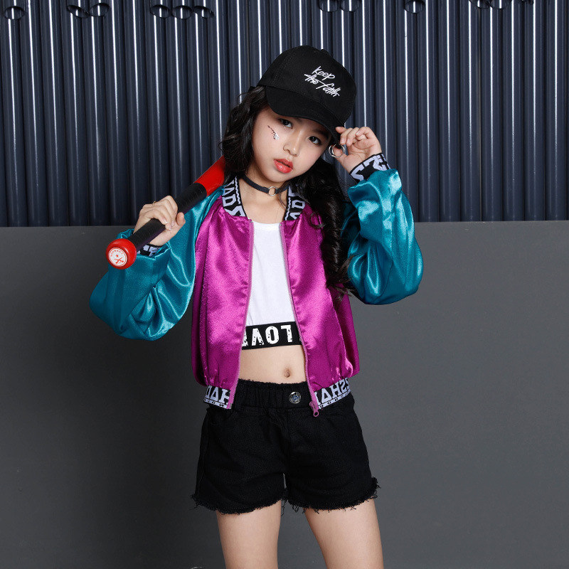 Kids Hip Hop Costume Dance Clothes For Girls Color Block Jacket Crop Tank Tops Shorts Ballroom Dancing Jazz Clothing Streetwear