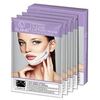 efero firming v face mask double v face hanging ear face paste hydrogel mask lifting firming thin masseter band double chin mask 4 Pcs V Line Mask Neck Mask Face Lift V Lifting Chin Up Patch, 4D Ear Tightening Skinny Masseter Double Chin Reducer