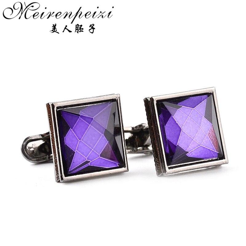 Elegant Fashion Luxury Men's Cufflinks Vintage White Purple Crystal Cufflink Male French Shirt Wedding Grooms Gifts Cuff Link
