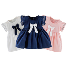 Preppy Style Girls Dress Infant Baby Girls Fly Sleeve Bowknot Princess Dress Clothes Summer Baby Dress Party Vestidos платье