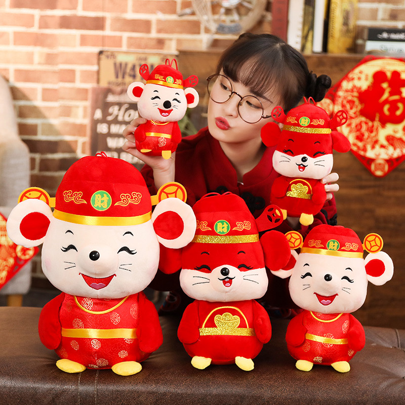2020 New Year Plush Rat Year Mascot Toy Plush Red Wealth Mouse In Tang Suit Soft Toys Chinese New Year Party Decoration Gift