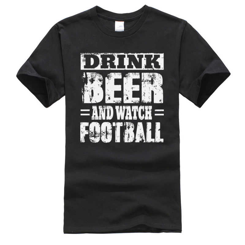 New Tops & Tees Black Pure Cotton Men Plain T-Shirt Drink Beer And Watch Football Crazy Tee Shirt Classic Shirt
