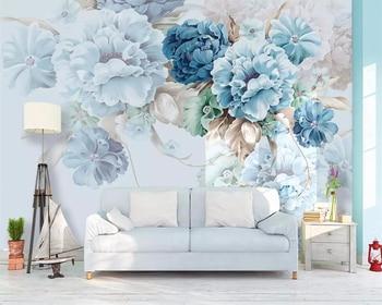 Beibehang Nordic niestandardowe świeże ręcznie malowane papel de parede tapeta kwiaty piwonii ogród TV do salonu tło tapety 3d