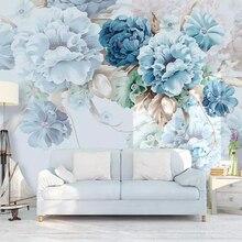 Papel de pared beibehang nórdico personalizado fresco pintado a mano papel de pared peonía flores jardín sala de estar TV Fondo 3d papel tapiz