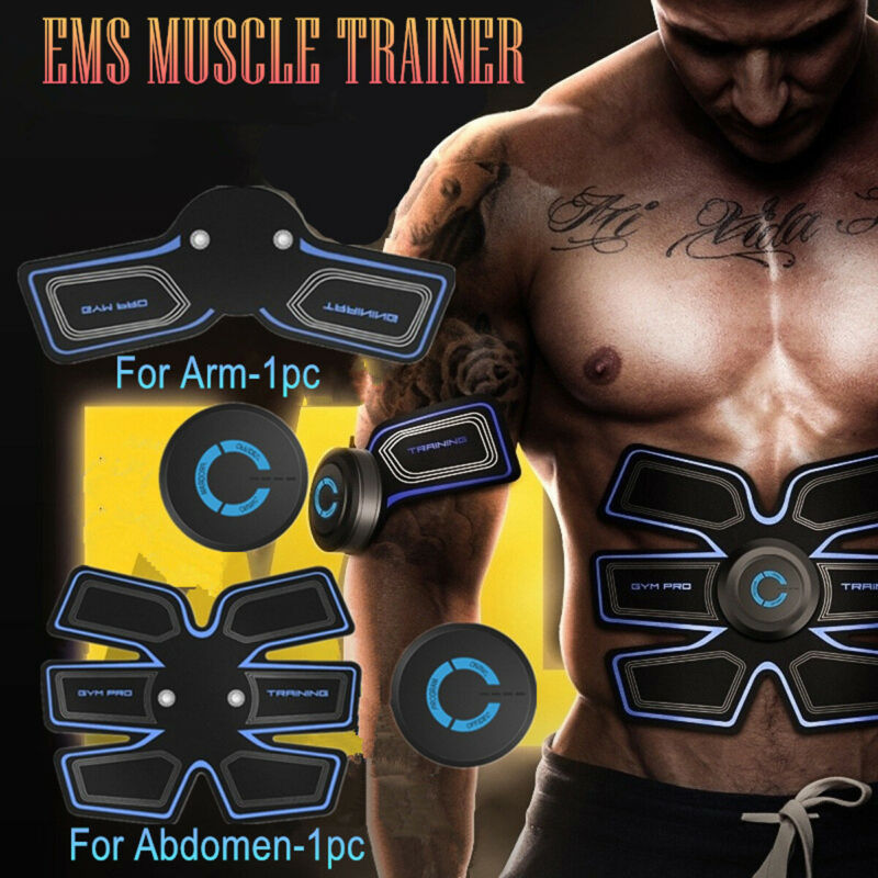 Rechargeable Simulator EMS Training Smart Body Abdominal ABS Muscle Exerciser AB & Arms