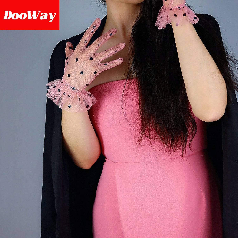 DooWay Lace Short Sheer Gloves Touchscreen Ruffled Trim Tulle Mesh for Women Wedding Pary (Pink Big Dots)