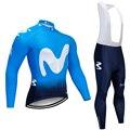 Inverno 2020 BLU Movistar ciclismo giacca 20D Pad bici vestito di pantaloni Ropa Ciclismo in pile Termico in bicicletta di usura Maillot Gonne e Pantaloni