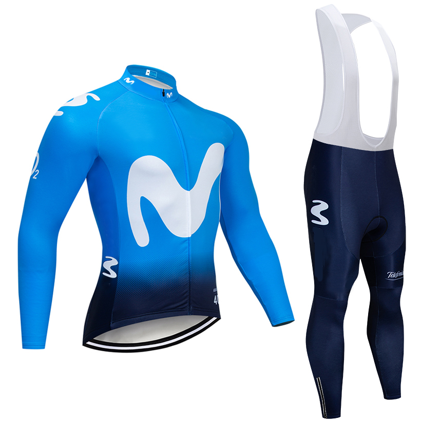 Winter 2020 BLUE Movistar cycling jacket 20D Pad bike pants suit Ropa Ciclismo Thermal fleece bicycling wear Maillot Bottoms