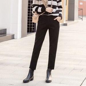 Image 4 - Harem Pants Women 2019 Autumn Winter Vintage Plaid Gray High Waist Female Trousers S~3XL Casual Ankle length Woman Woolen Pants