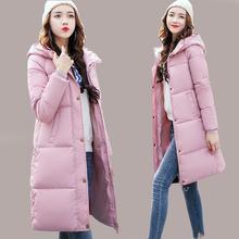 Winter Jacket Women Mid -Long Warm Hooded Fur Pocket Cotton Padded Parkas Sweat Girls Cold Outwear Jacket M -3xl