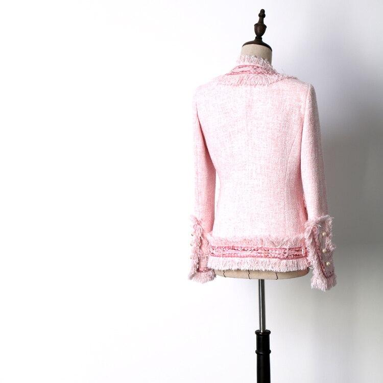 ผู้หญิง slim พู่ lurex tweed เสื้อ V คอฤดูใบไม้ผลิฤดูใบไม้ร่วงไข่มุกสีชมพูกระเป๋าสั้นลำลองสุภาพสตรี OL ขนสัตว์แจ็คเก็ต-ใน แจ็กเก็ตแบบเบสิก จาก เสื้อผ้าสตรี บน   3