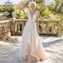 Fee V hals Kralen Wedding Dress Beach Applicaties Illusion Tulle A lijn Mouwloos Swanskirt D121 Bruidsjurk Vestido De Novia