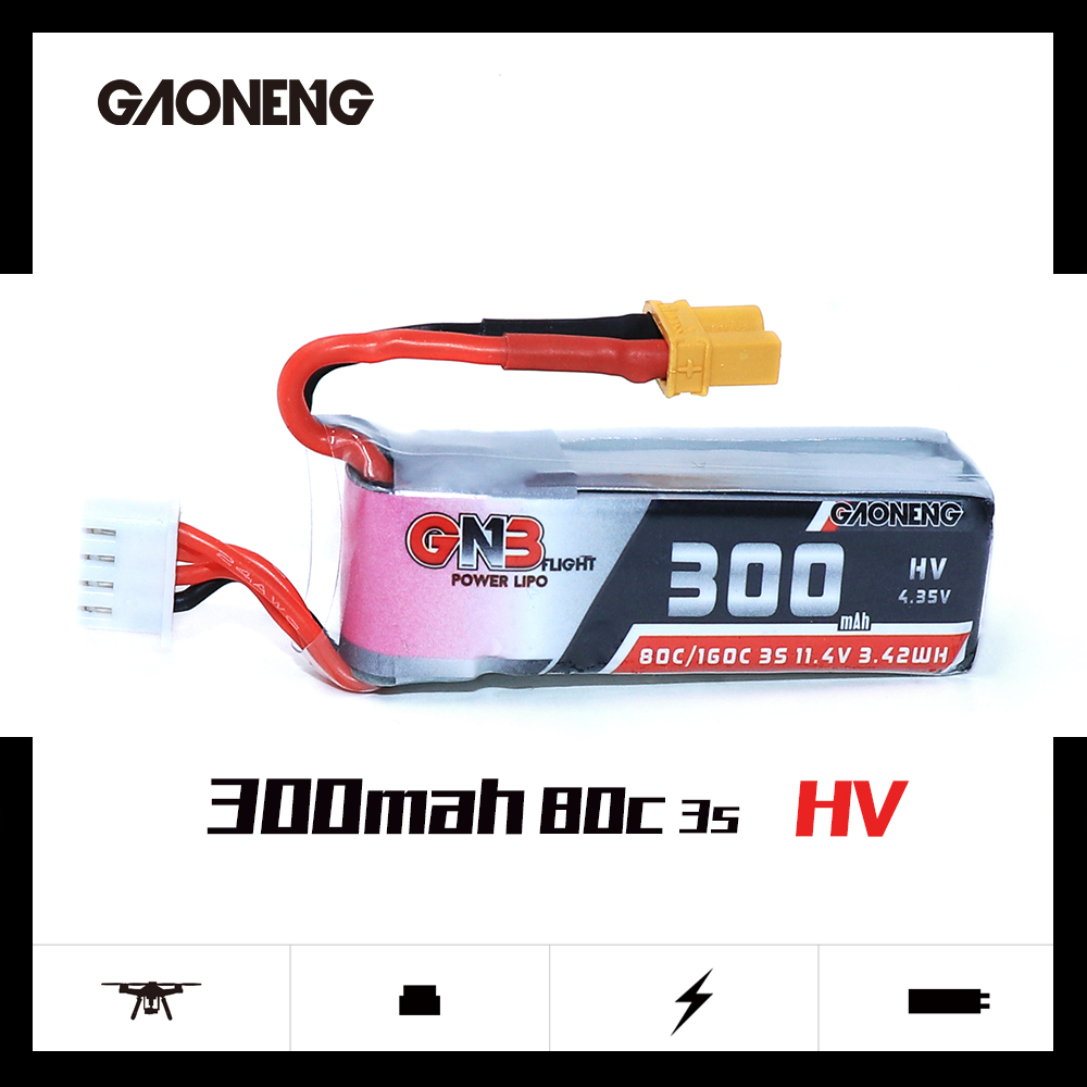 5PCS Gaoneng GNB 300mah 3S 11.4V 80C/160C HV Lipo Battery With XT30 Plug For BETAFPV 3S 2S RC FPV Cine Whoop BetaFPV Drone