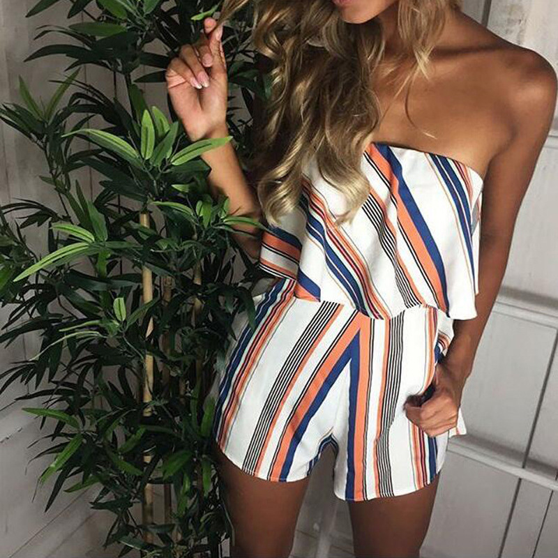 Women Jumpsuit 2020 Print Playsuit Rompers Summer Sexy Slash Neck Striped Ruffle Body Femme Beach Bodysuit Overalls For Ladies