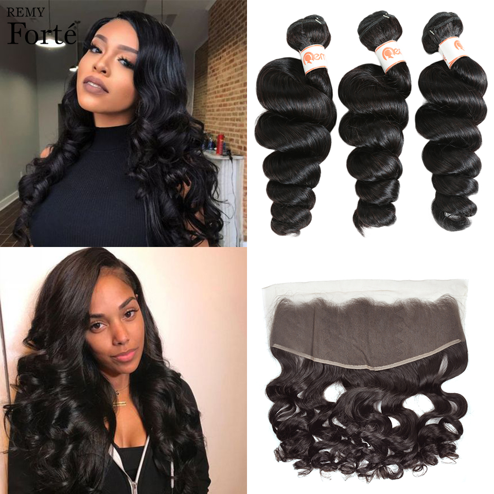 Remy Forte Loose Wave Bundles With Closure 30 Inch Bundles With Frontal Brazilian Hair Weave Bundles  3/4 Bundles With Closure