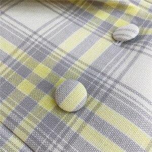 Image 5 - Femmes manteau 2019 automne et hiver mignon jaune grand Plaid laine costume