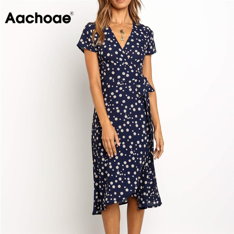 Aachoae Summer Long Dress 2020 Print Boho Wrap Beach Dress Sexy Side Split Elegant Bodycon Long Party Dress Sundress Vestidos