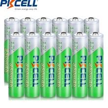 12 x PKCELL AAA pil 1.2 Volt Ni MH 850mAh şarj edilebilir pil piller NIMH 3A AAA Bateria Baterias