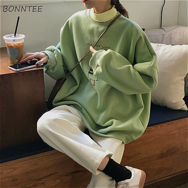 Hoodies Women Velvet Thick Kawaii Green Oversized Students All-match Streetwear Korean Style Chic Harajuku Girls Sweatshirt New