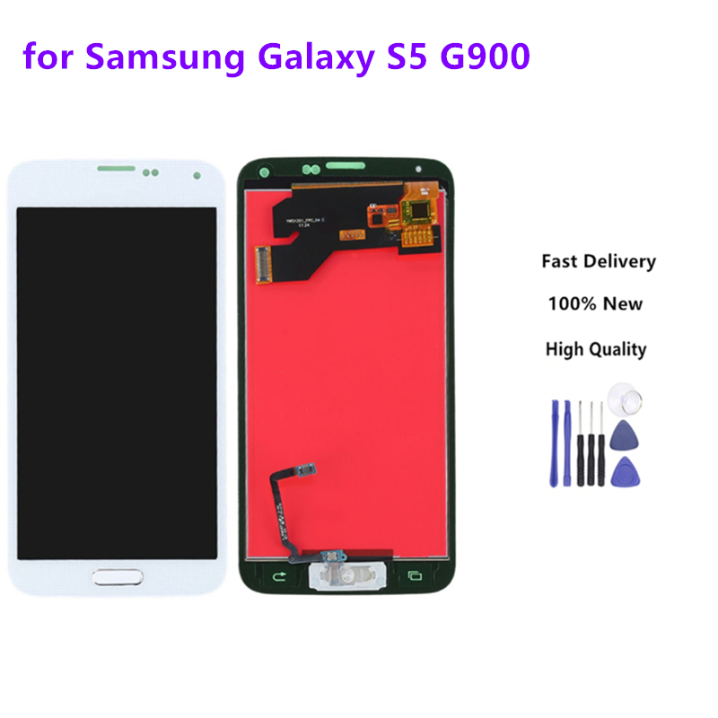 Top quality For <font><b>SAMSUNG</b></font> Galaxy S5 LCD <font><b>G900F</b></font> G900M G900A G900T <font><b>Display</b></font> Touch Screen Digitizer With Home Button +Repair Tools image