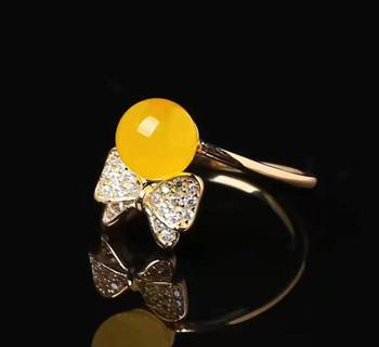 18K bag gold and silver 7mm natural yellow beeswax live ring