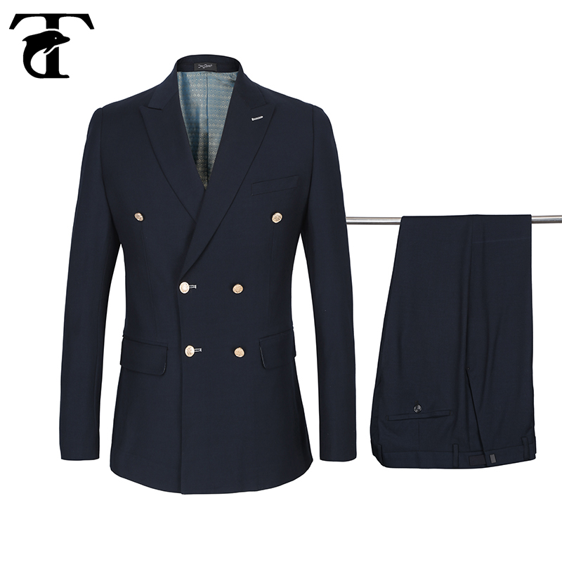 Terno 50% Wool Men Suits 2020 Gold Buttons Double-breasted Suits Costume Homme Blazers+Pants Buckle Casual Slim Fit Marriage Set