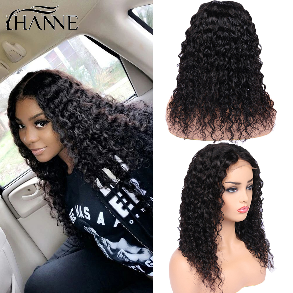4*4 Lace Closure Human Hair Wigs Brazilian Water Wave Remy Wig Closure Lace Wigs For Black Women Free Ship Natural Black