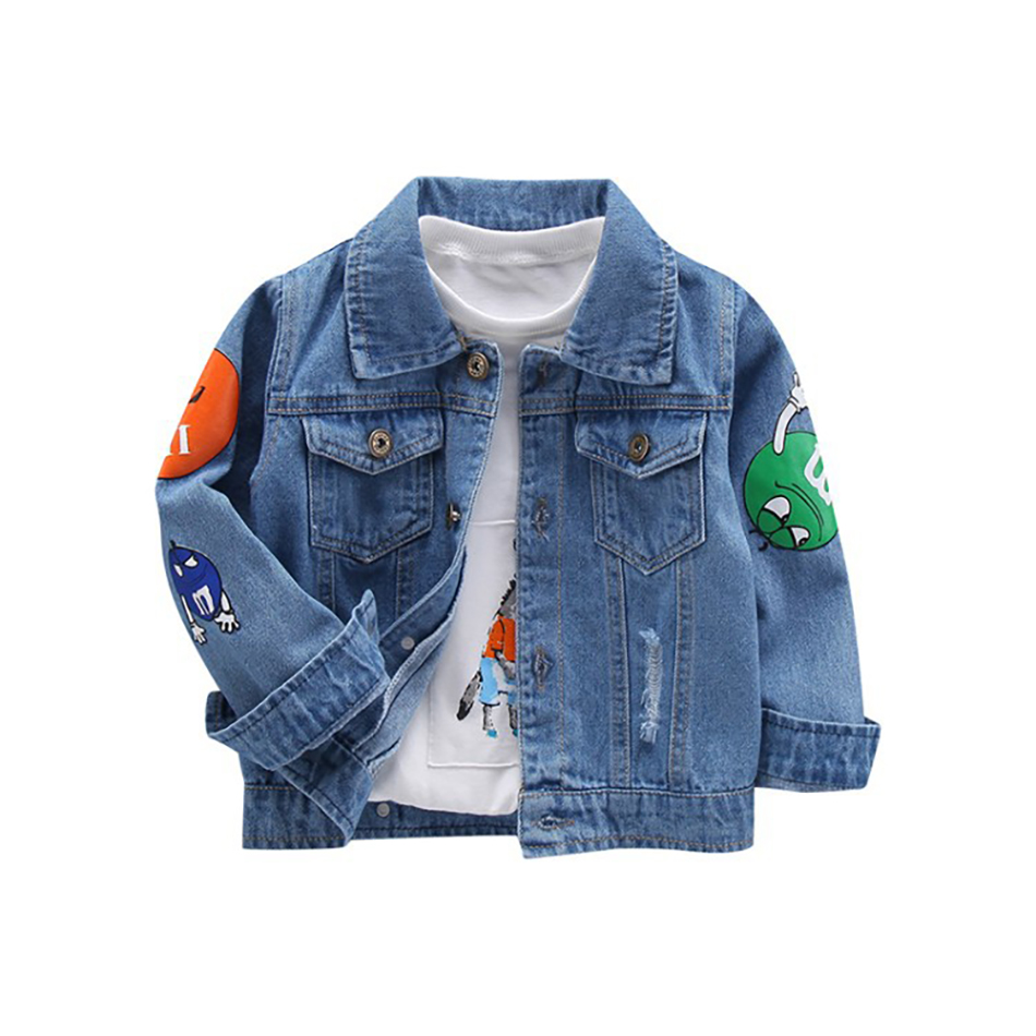 MUABABY Baby Boy Denim Jacket Kids Cartoon Appliques Tops Autumn Children Warm Clothes Frosted Toddler Daily Wear Fashion Looks