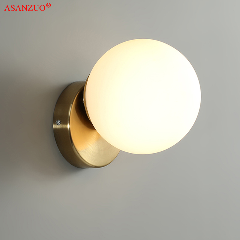 Nordic Glass ball ceiling lamp modern home cloakroom doorway entrance light background wall bedroom bedside wall lamp