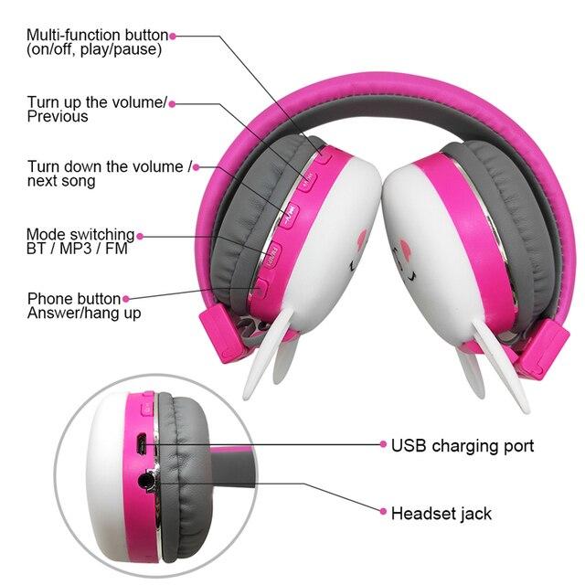 Cute Kids Girl Cartoon Blueooth Headphones 3D Cat Rabbit Animal Wireless Music Helmet Gaming Headset For Moible Phone MP3 PC 6