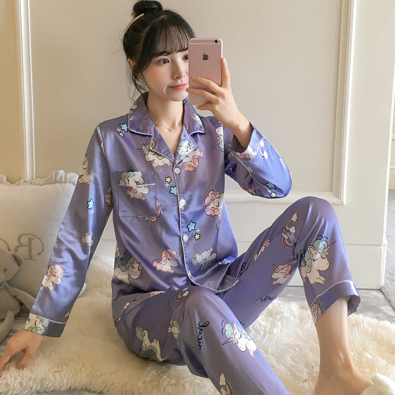 2019 Women Silk Pajamas Set WAVMIT Autumn Winter Long Sleeve  Print Cute Sleepwear Big Girl Pijamas Mujer Leisure Student Pajama