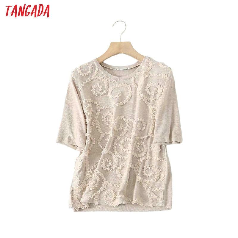 Tangada Women Vintage 3D Embroidery 2020 T Shirt Short Sleeve O Neck Tees Ladies Elegant Office Top 5B09