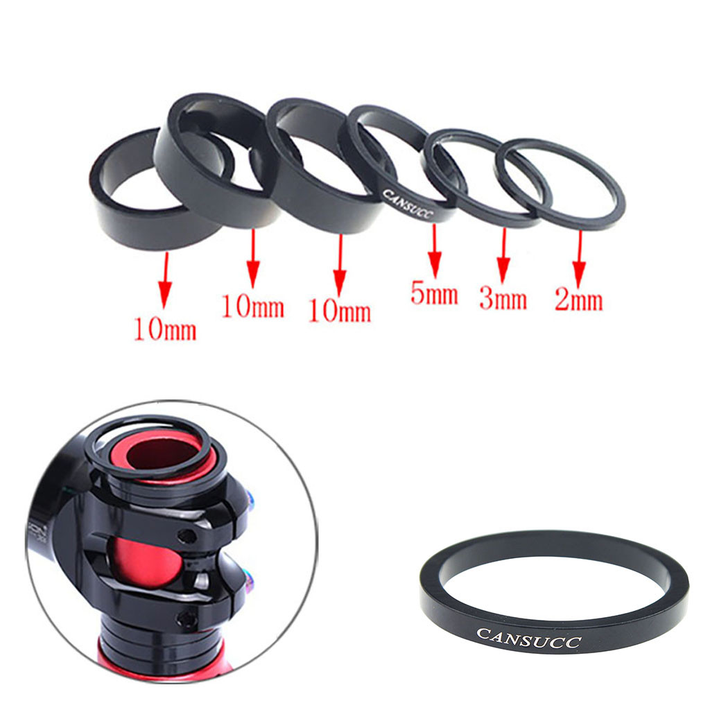 6pcs Bicycle Headset Washer Fork Spacers kit Handlebar Washer Ring Gasket Front Fork MTB Bicycle Bike Stem MTB Road Bike(China)