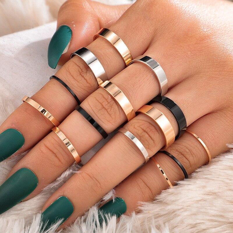 Docona 14 шт./компл. золотистые черные металлические кольца набор для женщин панк Knuckle Midi Кольца Ювелирные изделия Аксессуары 8472