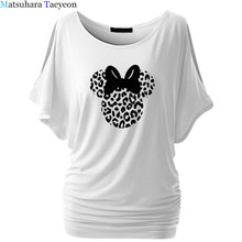 leopard mouse head Print Women Cotton Tshirts Casual Funny t Shirt For Lady Top Tee T-shirt Hipster 6 Color Women's Clothing(China)