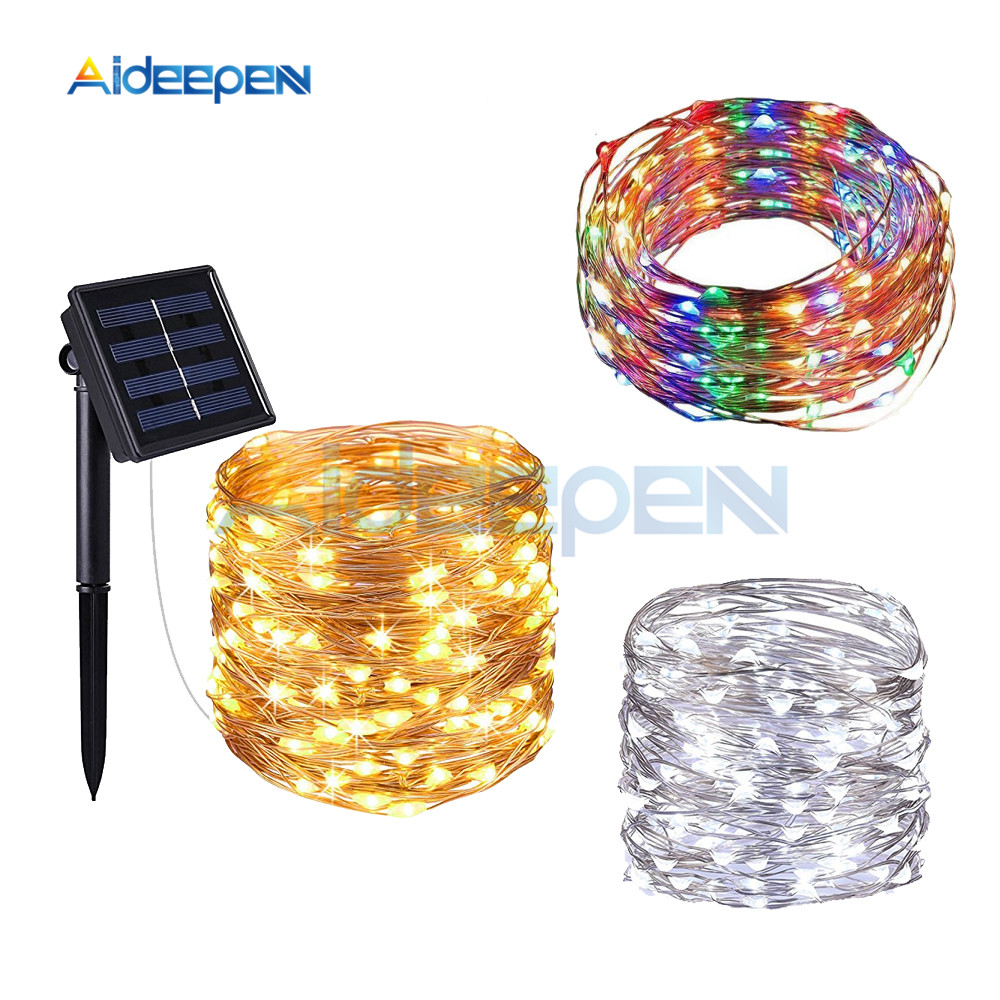 10M Outdoor Solar LED String Lights 100 LEDs Waterproof Fairy Light Lamp Christmas Holiday Home Garden Wedding Party Decoration
