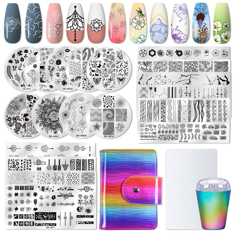 Nail Art Stamp Nail Stamping Template Flower Animal Nail Stamping Plates Marble Image Stamp Templates Manicure Printing Tools