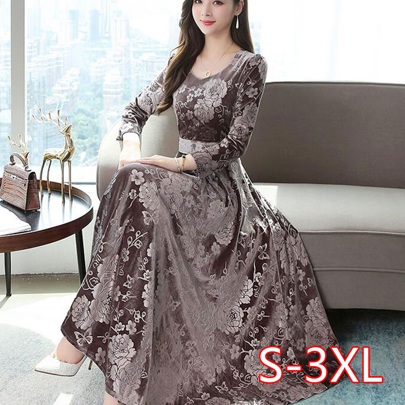 2020 Autumn Winter New Arrival High Quality Plus Size S-3XL Round Collar Flower Printed Long Sleeve Woman Long Velvet Dress