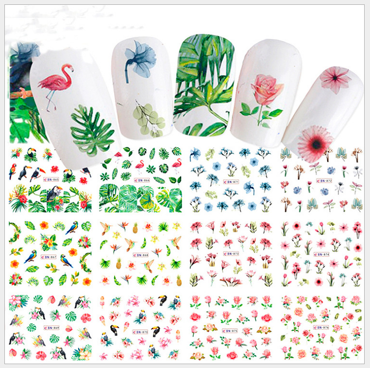 BN865-984 Large Sheet New Style Spring Flowers Nail Sticker Fire Lie Niao Nail Sticker Leaf Flower Stickers